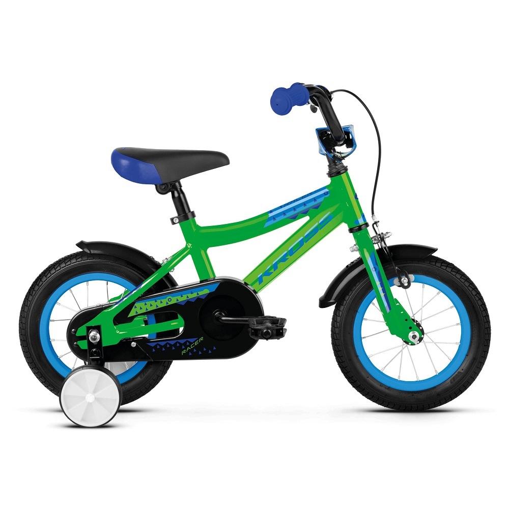 "Detský bicykel Kross Racer 2.0 12"" - model 2019 Green / Blue Glossy - Záruka 10 rokov"