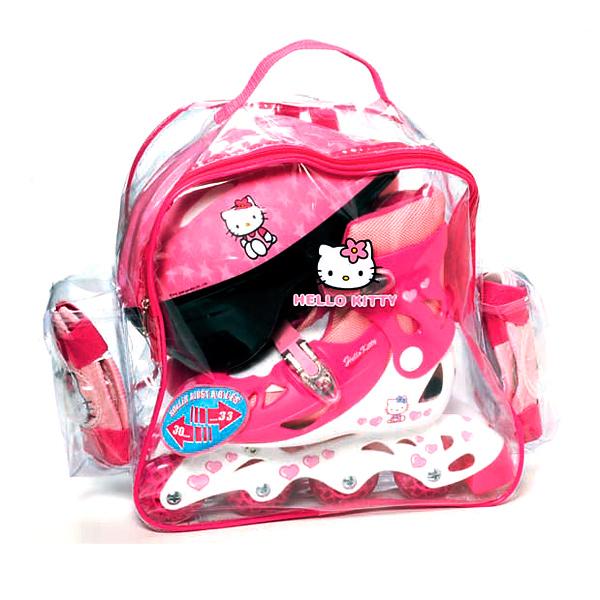 Hello Kitty dievčenská sada kolieskové korčule+prilba+chrániče