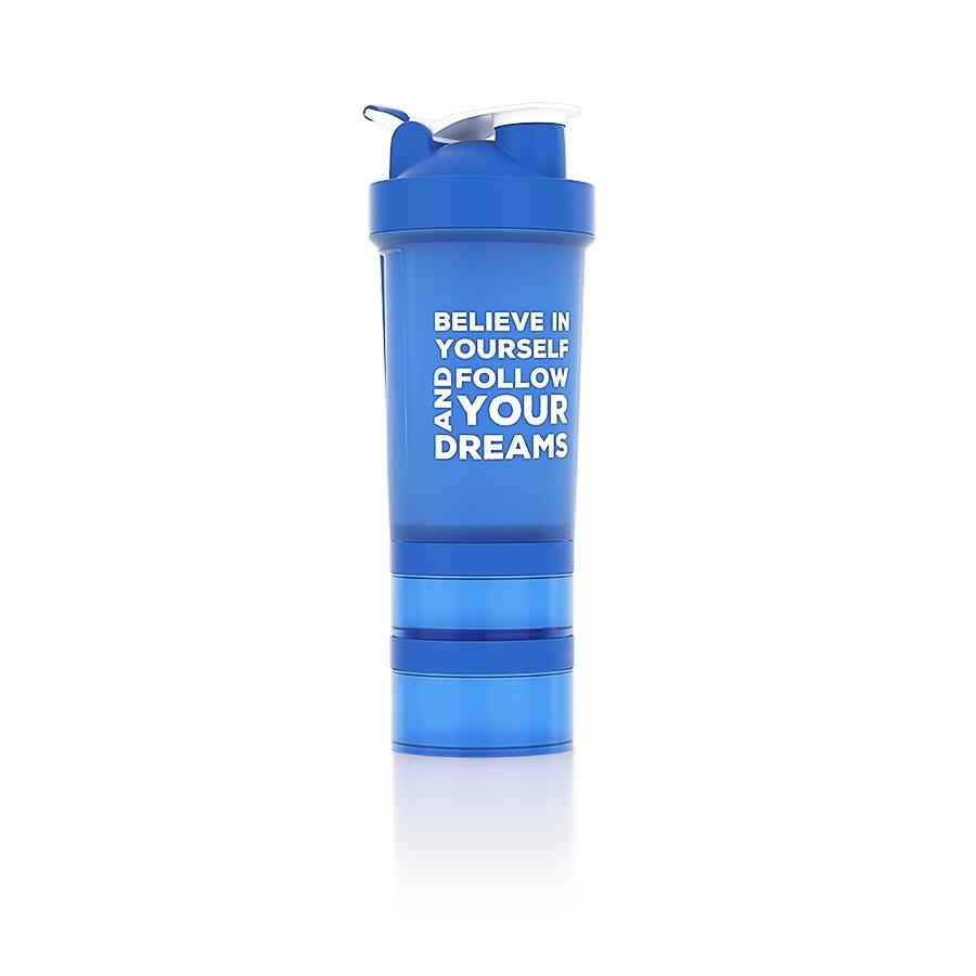 Shaker Nutrend s dávkovačom 450 ml+ modrá