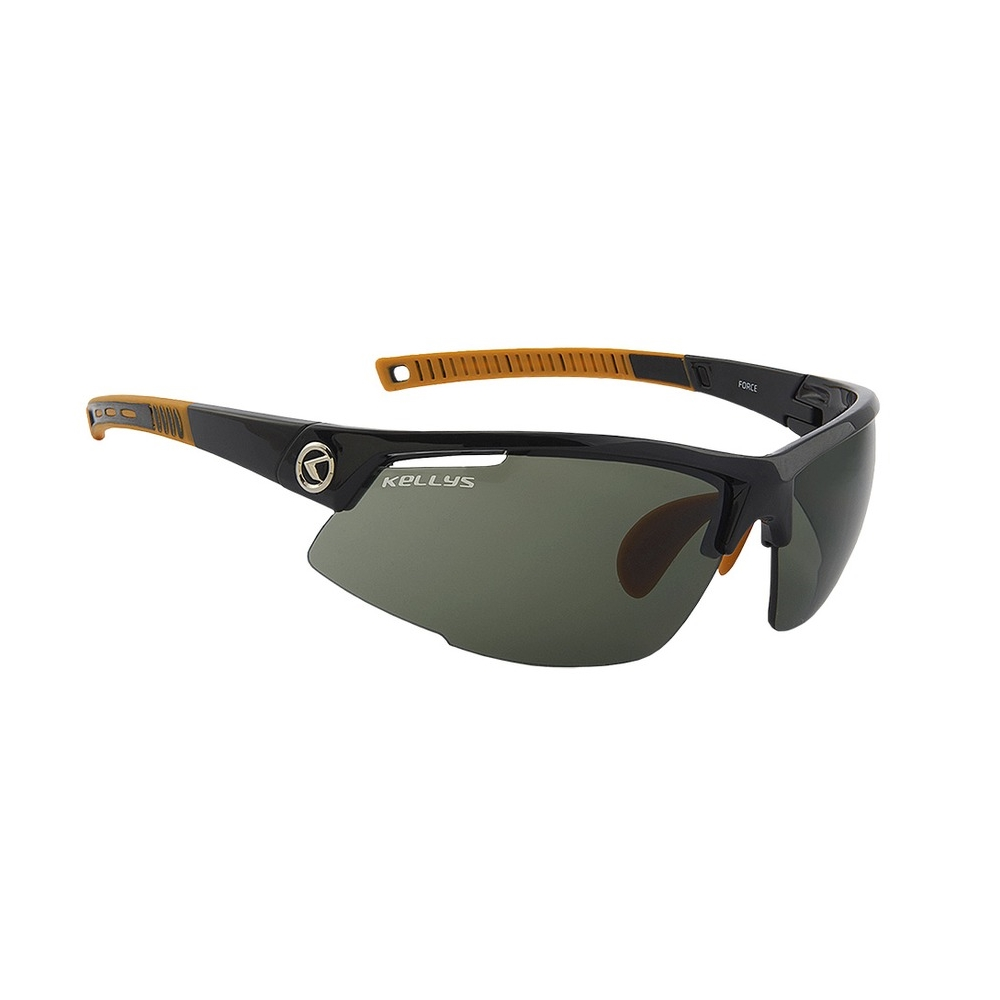 Cyklistické okuliare KELLYS Force Shiny Black, čierno-oranžová s tmavými sklami