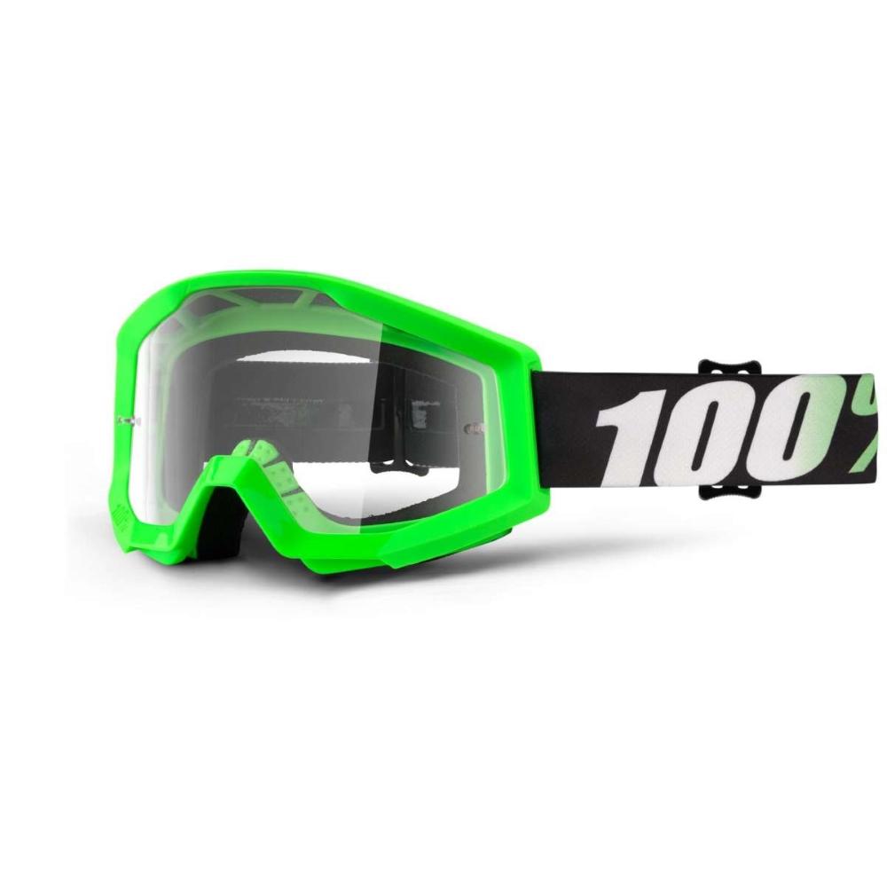 Motokrosové okuliare 100% Strata Arkon svetlo zelená, číre plexi s čapmi pre trhačky
