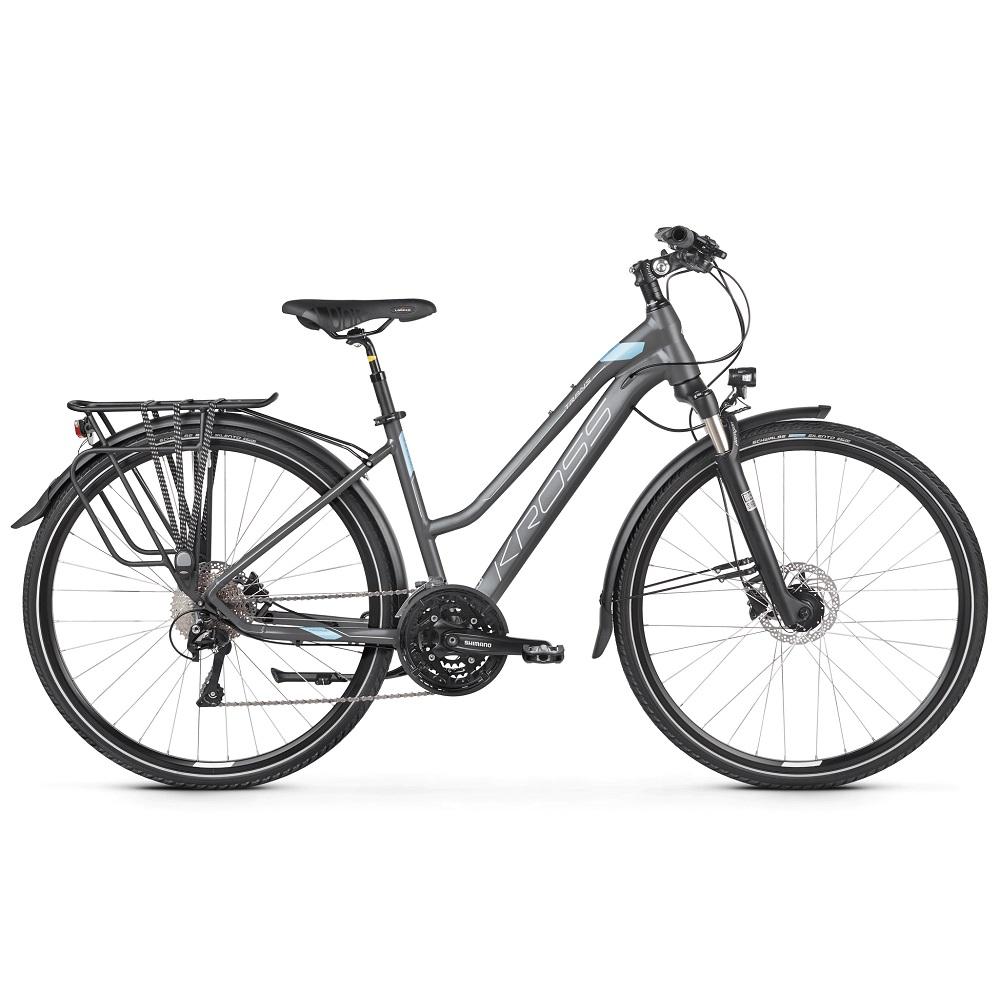 "Dámsky trekingový bicykel Kross Trans 10.0 28"" - model 2020 grafitová/modrá/biela - L (19"") - Záruka 10 rokov"