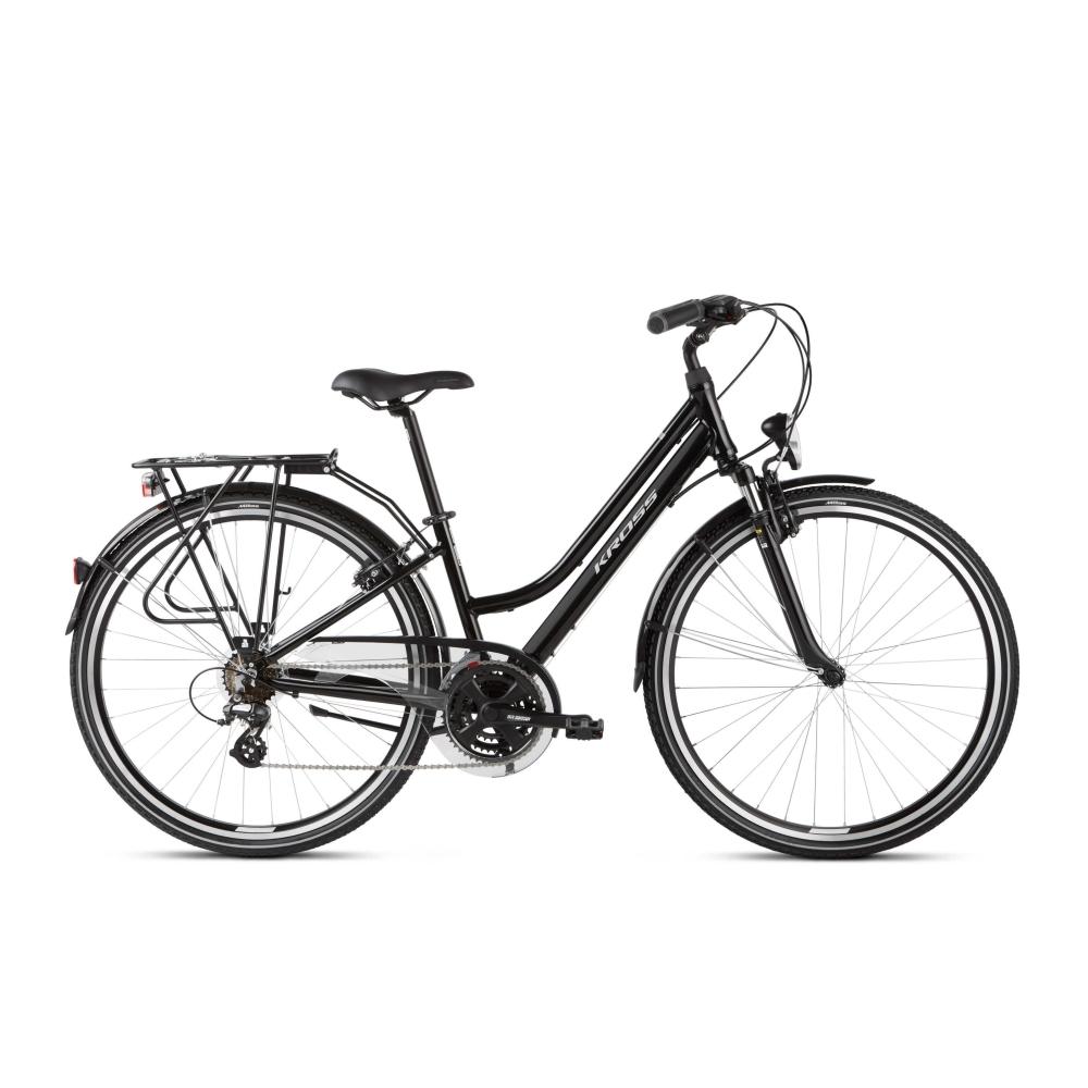 """Dámsky trekingový bicykel Kross Trans 2.0 28"""" SR - model 2021 čierna/šedá - M (17"""") - Záruka 10 rokov"""