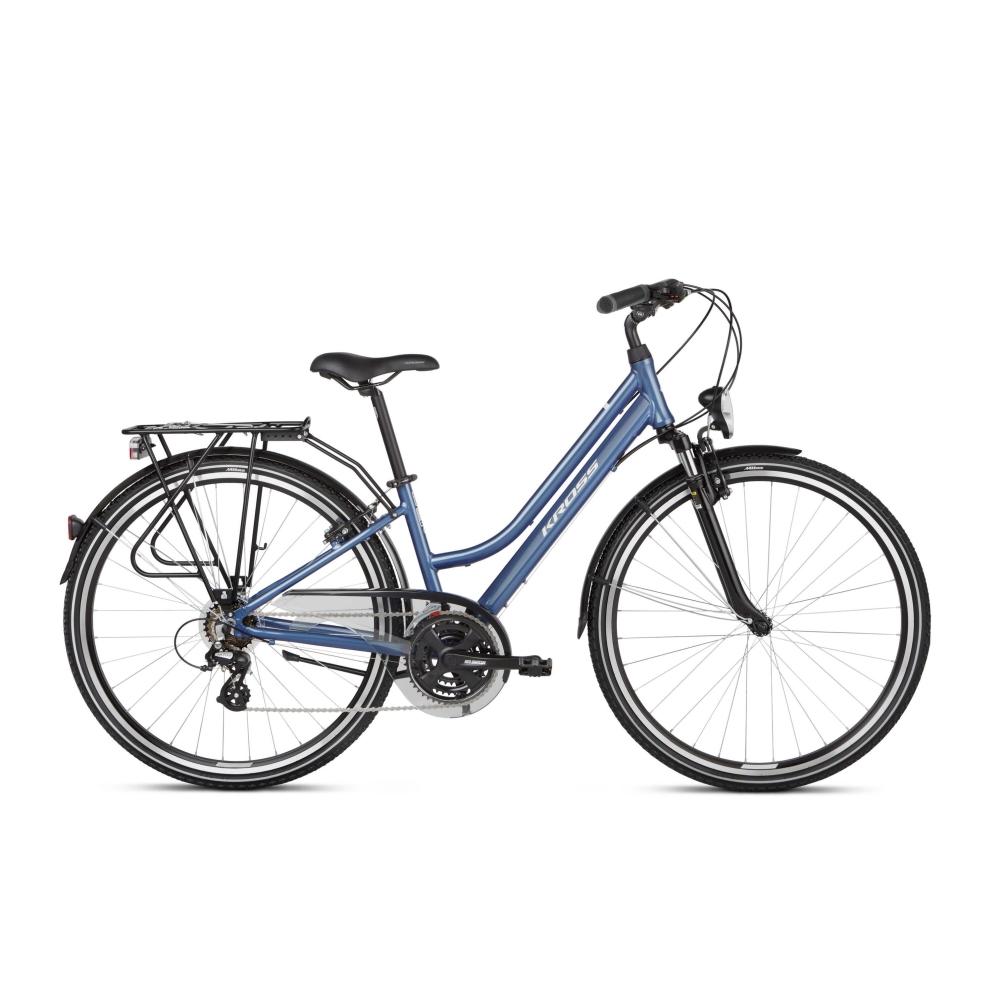 "Dámsky trekingový bicykel Kross Trans 2.0 28"" SR - model 2021 modro-biela - M (17"") - Záruka 10 rokov"