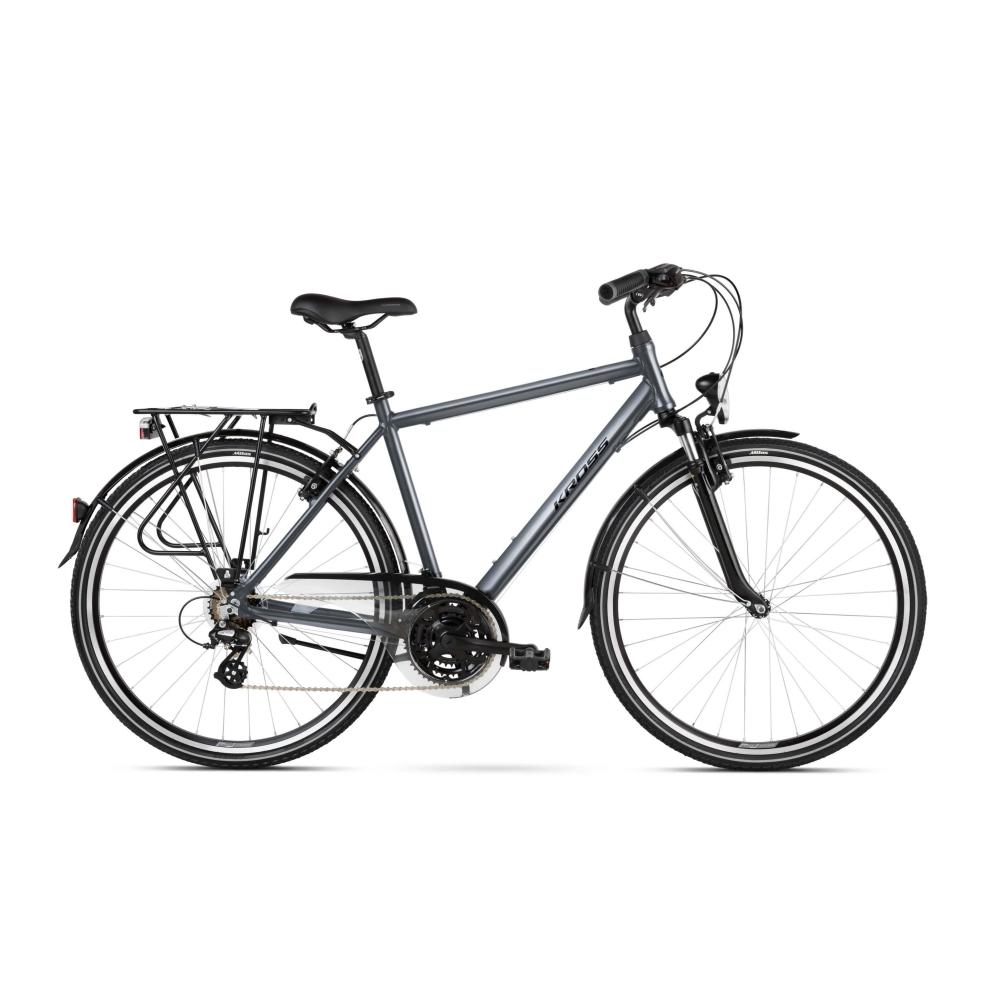 """Pánsky trekingový bicykel Kross Trans 2.0 28"""" SR - model 2021 grafitová/čierna - L (21'') - Záruka 10 rokov"""