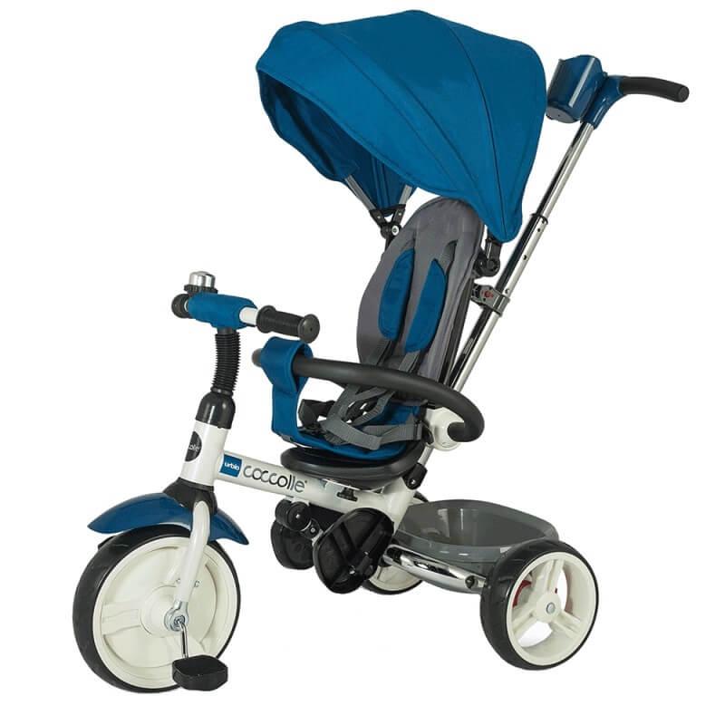 Detská trojkolka s vodiacou tyčou Coccolle Urbio modrá