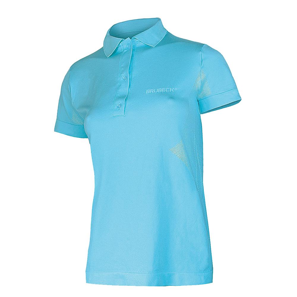 55c3cb1d817 Dámske thermo tričko Brubeck PRESTIGE s golierom - modrá