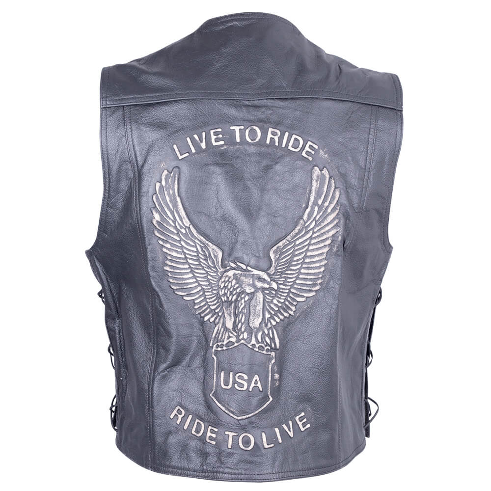 Kožená moto vesta Sodager Live To Ride Vest čierna - 4XL