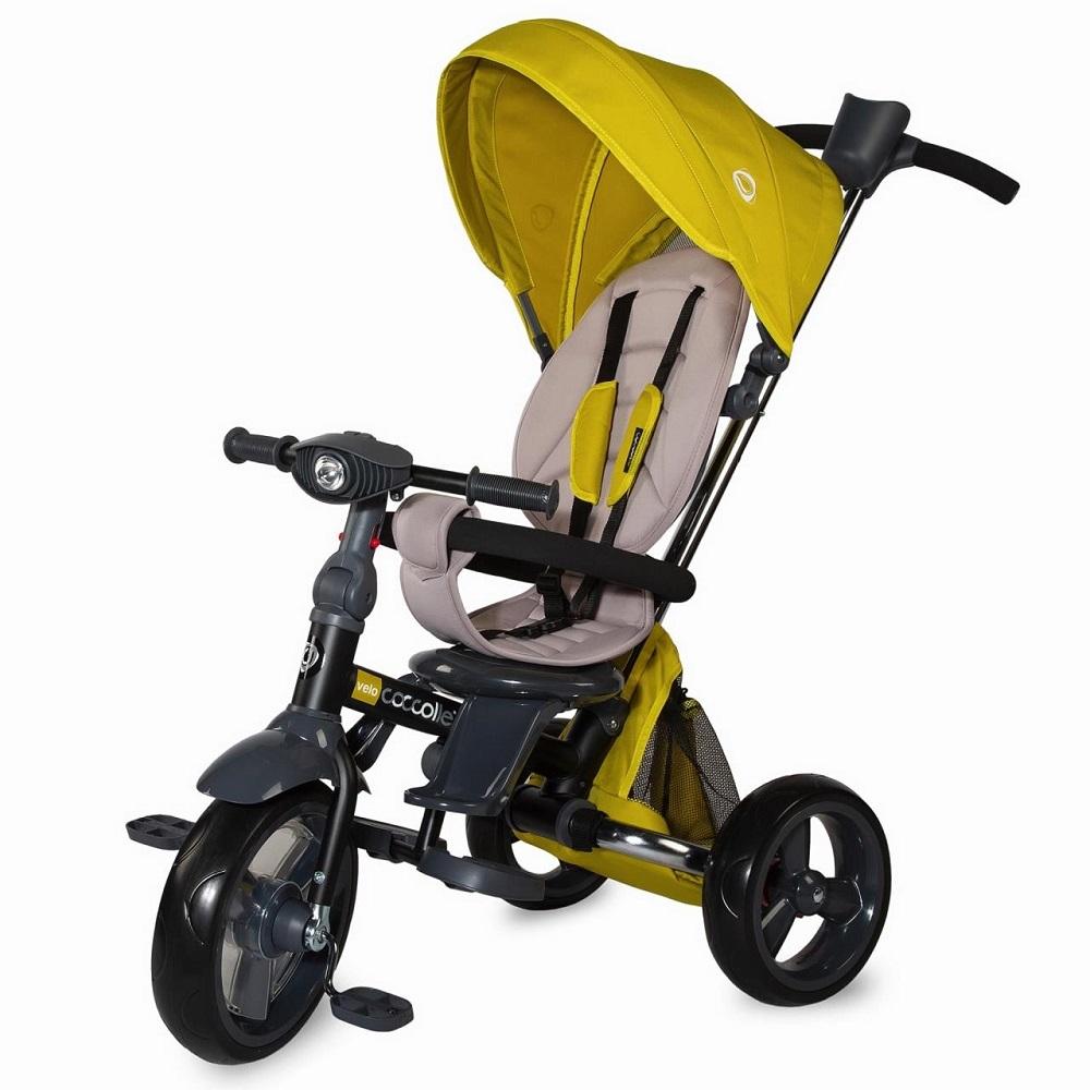 Detská trojkolka s vodiacou tyčou Coccolle Velo žltá