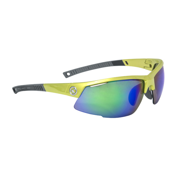 Cyklistické okuliare KELLYS Force Shiny Lime, limetková s modrými duhovými sklami